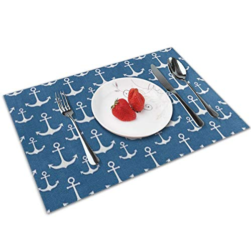 XMVCGJMHN-K Nautical Anchor Blue Table Placemats Set of 4 Placemats for Table Heat-Resistant Skid-Proof Table Mats Dining Table Woven Stain Resistant Place Mat