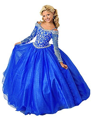 (Wenli Girls' Sheer Neck Beaded Rhinestones Pageant Dresses 12 US RoyalBlue)