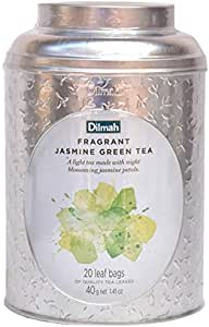 Dilmah Vivid Jasmine Green Tea Teabag Caddy, 40 Grams