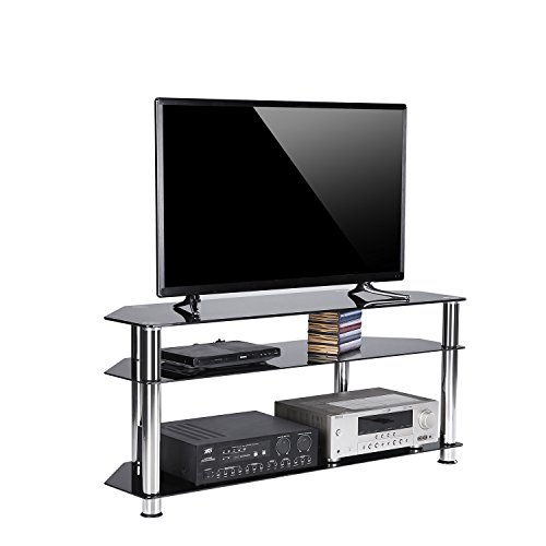 Rfiver Black Tempered Glass Corner TV Stand Suit for LED, LCD, OLED and Plasma Flat Screen TVs up to 55-Inch,Black Glass and Chrome tube TS1003