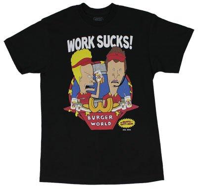 b84cdda8d Amazon.com: Work Sucks - Beavis And Butthead T-shirt: Adult 2XL - Black:  Clothing