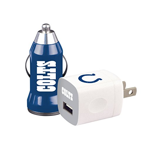 NFL Indianapolis Colts Home & Away USB Car and Wall Chargers, 2-Pack