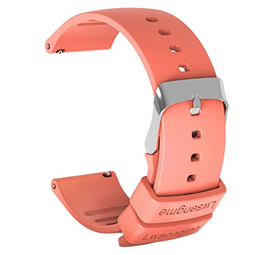 (Lwsengme Silicone Watch Replacement Band with Quick Release-Choose Color & Width (20mm,22mm) & Length-Soft Rubber Watch Strap (Oringe, 22mm))