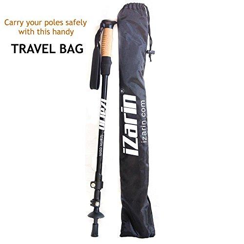 IZarin Pair of Telescopic Aluminium Nordic Walking Poles Trekking Hiking Sticks with Carry Travel Bag & Accessories / Rubber Tips / Lightweight for Backpacking Mountaineering Climbing Men & Women