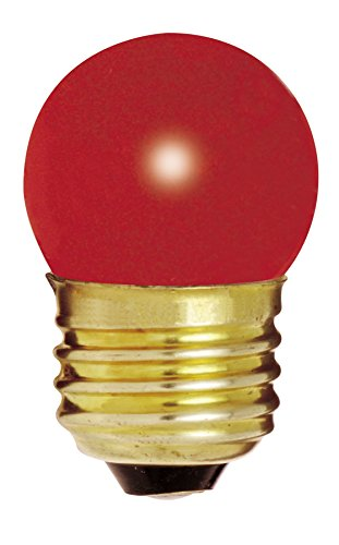 (Satco 7 1/2S11/R Incandescent Indicator & Sign, 7.5W E26 S11, Ceramic Red Bulb [Pack of 12])