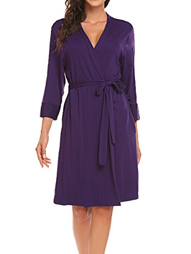 Bluetime Womens Robe Kimono Knit Cotton Light Short Bridesmaids Spa Bathrobe (S, Purple)