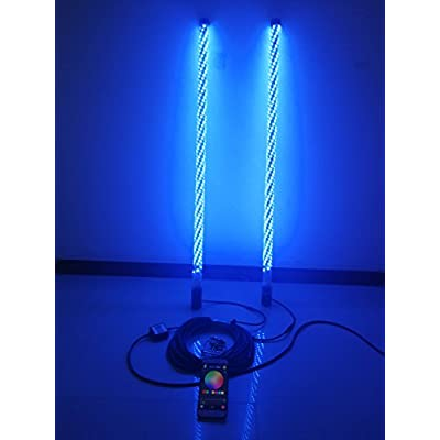2PCS IP67 Waterproof 3 Feet Brightest RGB LED Spiral Whip Lights Wrapped Multiple Colors Wireless Blue-tooth App Controlled for ATV UTV RZR Off Road Polaris Jeep Trucks: Automotive