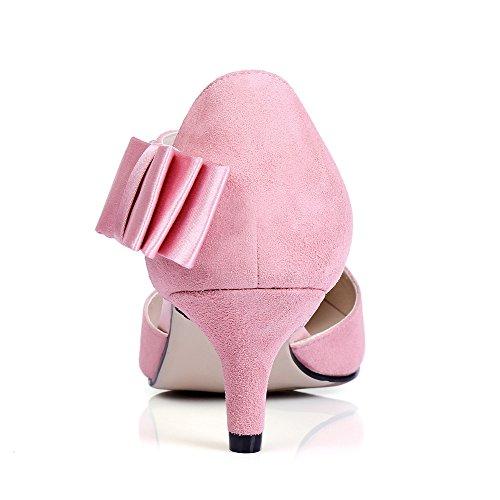 0db310e4a9d ... Nine Seven Cuero Moda Puntiagudos Tacones de Aguja con Lazo de Vestir  para Mujer Rosa ...