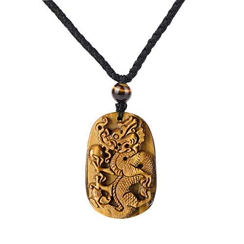 HASKARE Mens Stone Pendant Tiger Eye Chakra Healing Pendant Necklace, Adjustable 27.5 inch (Tiger Eye Dragon) ()