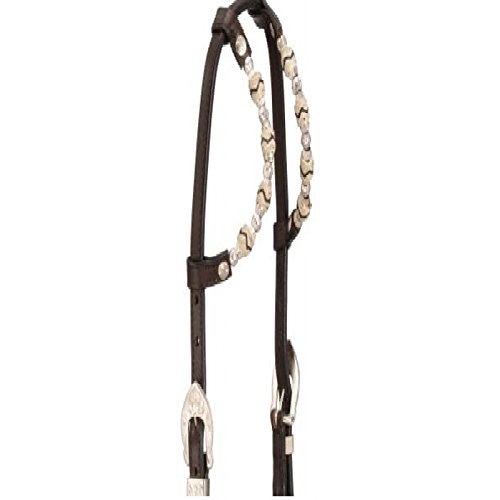 Tough-1 Horse Leather Double Ear Headstall Bridle with Silver Ferrules and Rawhide. Color Choice (Dark Oil) ()