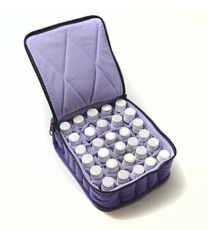 "30-Bottle Essential Oil Carrying Cases hold 5ml, 10ml and 15ml bottles - Deep Purple with Lavender interior - 3"" high"