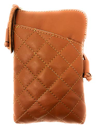 (MONAHAY Small Italian Leather Cross Body Cell Phone and Passport Travel Pouch Bag MH9723 ... (Quilted Tan))