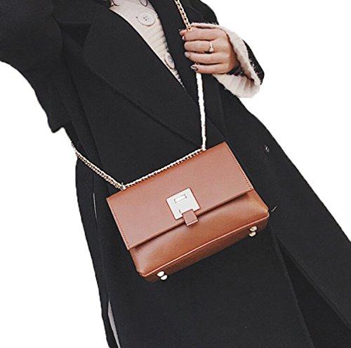 GZHGF Señoras Sencillas Sencillas Elegante Simplicidad Femenina Transparente Messenger Pequeña Bolsa Cuadrada,Brown Brown