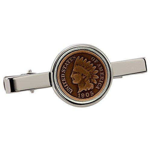 American Coin Treasures Indian Penny Silvertone Coin Tie Clip ()