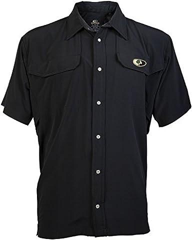 Mossy Oak Men's Short Sleeve Camp Shirt, Black, XX-Large - Signature Camp Shirts