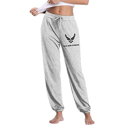 YOOJPC-6 Women's US Air Force Sweatpants with Pockets Fitness Pants Gray