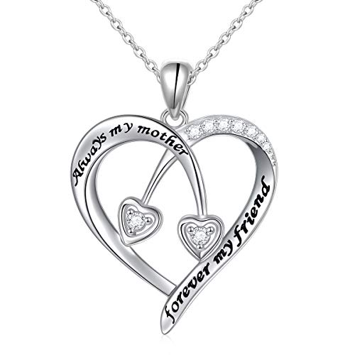 - 925 Sterling Silver Always My Mother Forever My Friend Double Love Heart Pendant Necklace for Mom Birthday Gift, 18