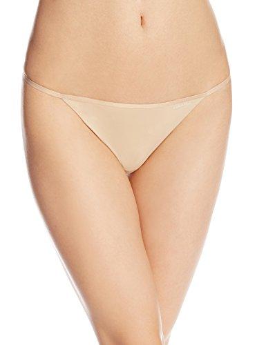 Calvin Klein Women's Sleek Model Thong Panty, Bare, Medium (G Underwear)