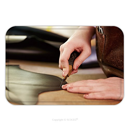 Flannel Microfiber Non-slip Rubber Backing Soft Absorbent Doormat Mat Rug Carpet Shoemaker Cutting Leather In A Workshop Close Up 290152256 for Indoor/Outdoor/Bathroom/Kitchen/Workstations