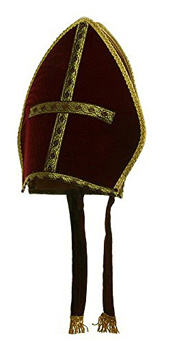 Bishop Pope Mitre Clergy Costume Prop Red Hat
