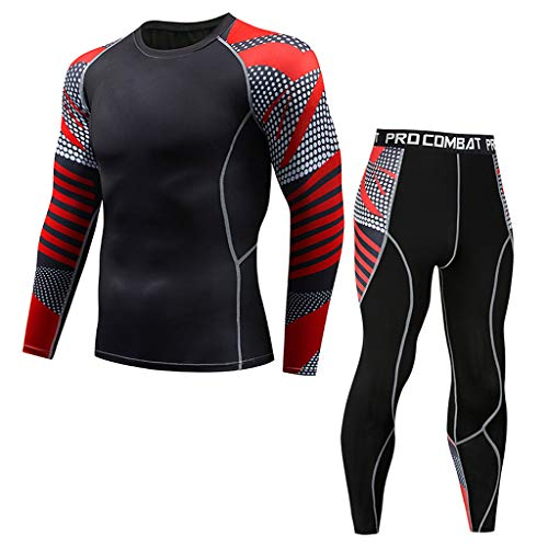 (Hotcl Athletic Running Cycling Suit Men's Compression Pants Base Layer Dry Tights Leggings Compression Sport T Shirt Red)
