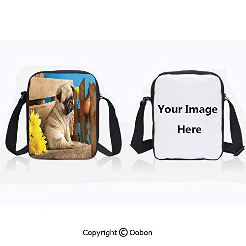 Polyester Anti-Theft Everything Crossbody Bag Unisex Teen Adorable Puppy Photography with Sad Dog and Wildflowers on a Park Bench Pale Brown Yellow Blue Lightweight Zipper Multi-Pocketed Travel Bag