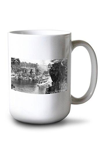 Lantern Press Wisconsin Dells, Wisconsin - High Rock from Romance Cliff, Steamer Photo (15oz White Ceramic ()