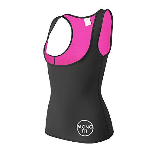 Trainer Fit - ALONG FIT Neoprene Waist Trainer for Women Sauna Vest Corset for Weight Loss Hot Slimming Sweat Vest Tank Top Black-Pink