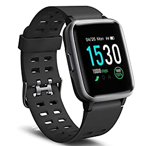 Letsfit Smart Watch, Fitness Tracker with Heart Rate Monitor, Activity Tracker with 1.3″ Touch Screen, IP68 Waterproof Step Counter, Sleep Monitor, Pedometer Smartwatch for Women Men Kids