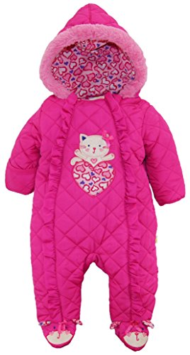 Duck Goose Baby Girls Cute Little Kitty Quilted Footed Ear Snow Pram Suit, Pink, 6-9 Months by Duck Duck Goose (Image #1)