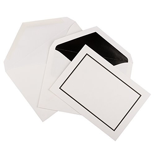 JAM PAPER Foldover Cards & Matching Envelopes Stationery Kit - Large - 5 1/2 x 7 3/4 - Black Border - 50/Pack