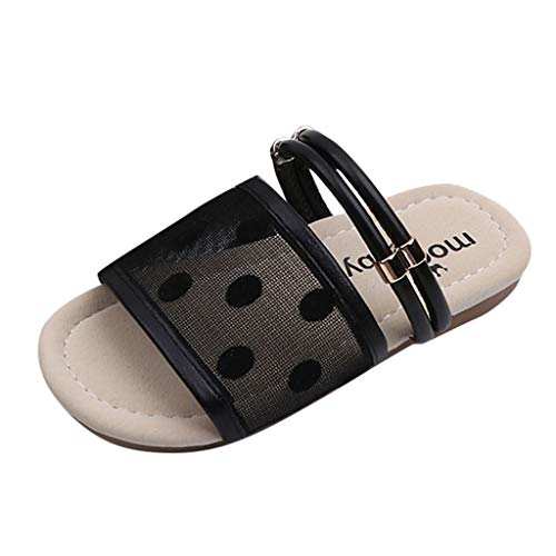 NIKIShop Kids Baby Girl Cute Polka Dot Lightweight Non-Slip Slippers Flat Two Slings with Sandals Summer Black
