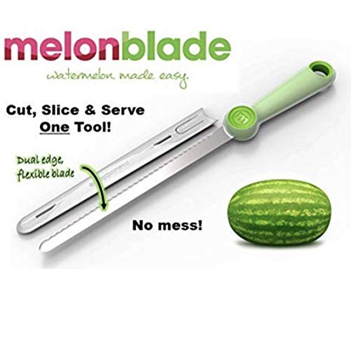 Watermelon Melonblade CUTS the rind, SLICES the melon, FLEXES