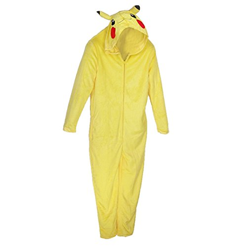 [Pokemon Pikachu Costume Zip-up One Piece Suit (Medium)] (Pikachu Costumes Women)