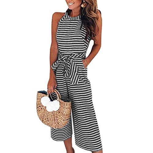 Yaso Women's Casual Striped Sleeveless Waist Belted Zipper Back Wide Leg Loose Jumpsuit Romper with Pockets Black White XL by Yaso