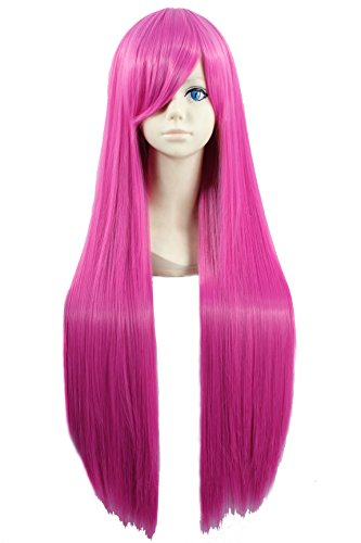 (Angelaicos Unisex 80cm Universal Style Straight Bangs Halloween Costume Carnival Cosplay Show Hair Full Wig Long Pink 31)