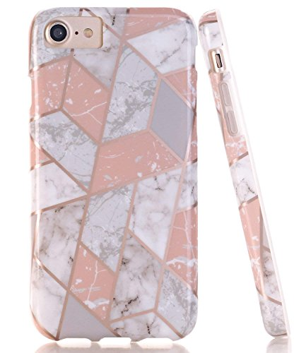 BAISRKE Shiny Rose Gold Lines Pink Marble Geometric Case Slim Soft TPU Rubber Bumper Silicone Protective Phone Case Cover Compatible with iPhone 8 / iPhone 7 / iPhone 6 6s [4.7 inch]