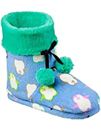 Womens Fleece Boot Slippers with Faux Fur Cuff