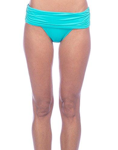 Lauren by Ralph Lauren Womens Beach Club Solids Wide Shirred Banded Hipster Bottom (Aqua, 10)