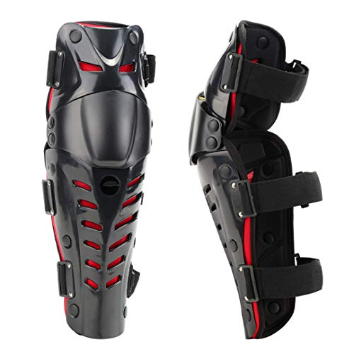 Men Movable Knee Shin Guard Pads Breathable Adjustable Knee Pads Protector Armor for Motorcycle Cycling Racing Red