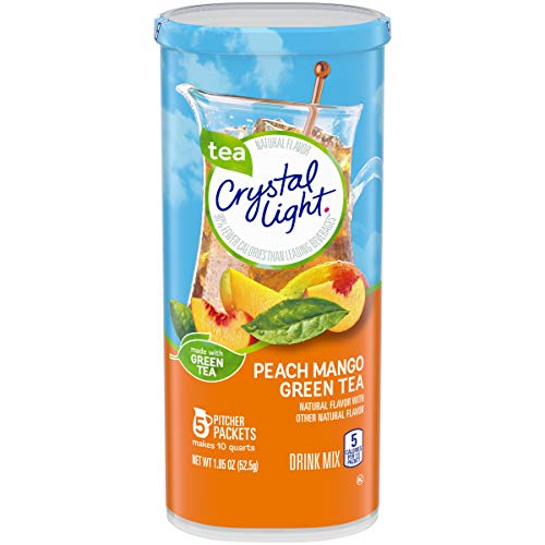 Crystal Light Sugar Free Peach Mango Green Tea Powdered Drink Mix, Low Caffeine, 1.85 oz Can (Pack of 12) (Tea Cans Green Peach)