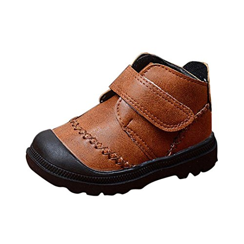 Baby Shoes, Mchoice Infant Toddler Baby Girls Boys Kids Winter Thick Snow Boots Leather Shoes Anti-slip Shoes (1~2 Years old, Brown)