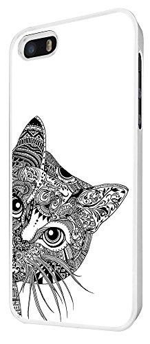 554 - Cool Aztec Cat Cute Funky Design iphone 4 4S Coque Fashion Trend Case Coque Protection Cover plastique et métal - Blanc