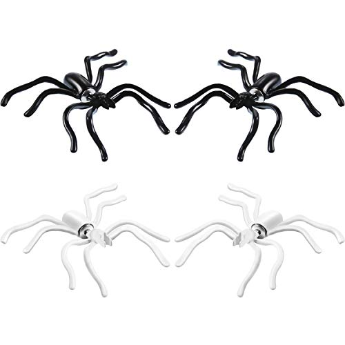Spider Themed Halloween Party (Tatuo 4 Pairs Womens Halloween Spider Charm Ear Stud Earrings Jewelry for Halloween Themed Party Supplies (2 Pairs White and 2 Pairs)