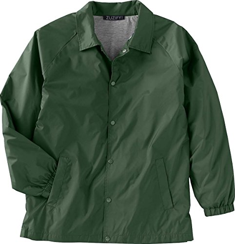 ZUZIFY Nylon Snap Front Coaches Windbreaker Jacket. JR0831 Large Dark Green (Snap Nylon Jacket Front)