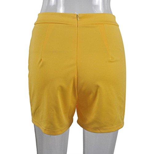 Taille Jaune WINWINTOM Pantalon Fermeture Femmes clair haute solide 2018 et Bouton chaud EpHwpqF