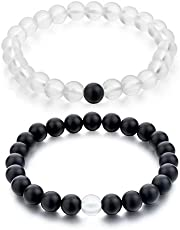 Couples Distance Bracelet Classic Natural Stone Black Beaded for him and her Bracelets for Men and Women