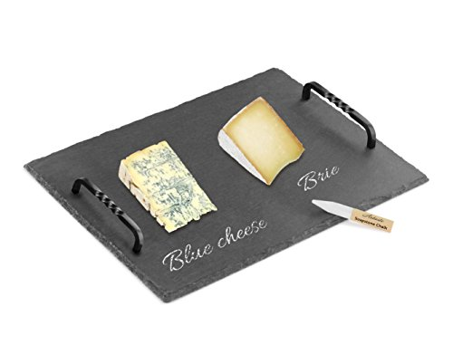 Artaste 28577 Slate Cheese Board and Soapstone Chalk Set with Die Cast Iron Handles, 12 16-inch, 12