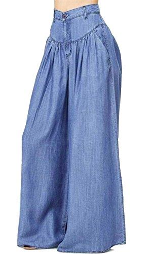 KLJR-Women Loose Super High Waist Wide Flared Leg Long Denim Pants Blue US 3XL