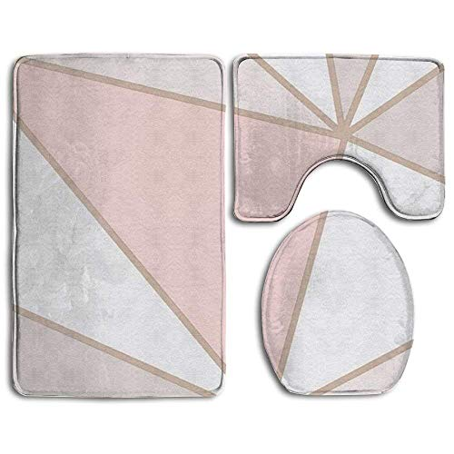 deer sky Rose Gold Marble Super Cute 3 Piece Bathroom Rug Set Bath Rug, Contour Mat, Lid Cover Non-Slip with Rubber Backing ()